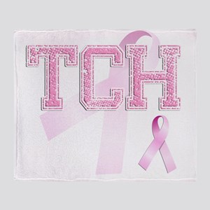 TCH initials, Pink Ribbon, Throw Blanket
