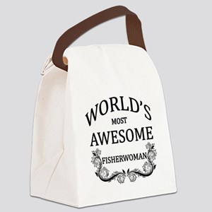 World's Most Awesome Fisherwoman Canvas Lunch Bag