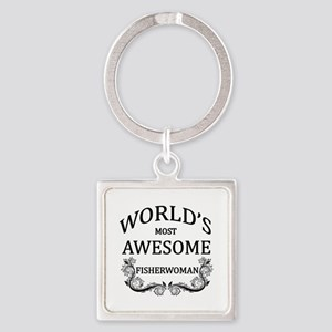 World's Most Awesome Fisherwoman Square Keychain