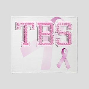 TBS initials, Pink Ribbon, Throw Blanket