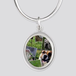 bulldog collage Silver Oval Necklace