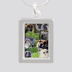 bulldog collage Silver Portrait Necklace