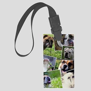 bulldog collage Large Luggage Tag