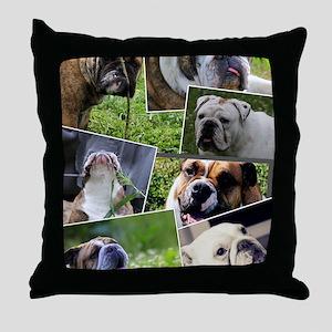 bulldog collage Throw Pillow