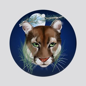 Queen Duvet Midnight Mountain Lion Round Ornament