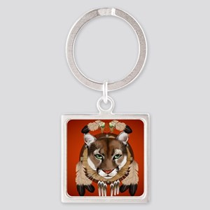 Queen Duvet Cougar Shield Square Keychain