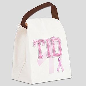 TID initials, Pink Ribbon, Canvas Lunch Bag