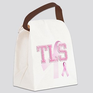 TLS initials, Pink Ribbon, Canvas Lunch Bag