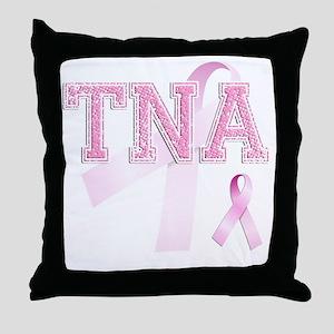 TNA initials, Pink Ribbon, Throw Pillow