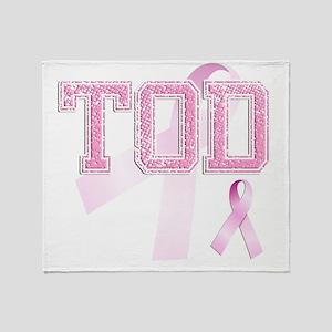 TOD initials, Pink Ribbon, Throw Blanket