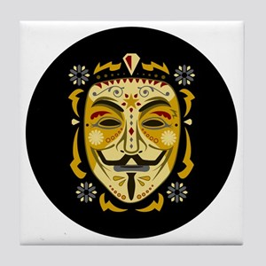 Guy Fawkes Sugar Skull Tile Coaster