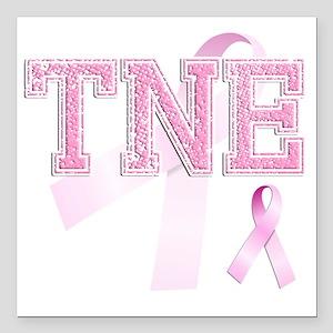 "TNE initials, Pink Ribbo Square Car Magnet 3"" x 3"""