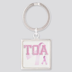 TOA initials, Pink Ribbon, Square Keychain