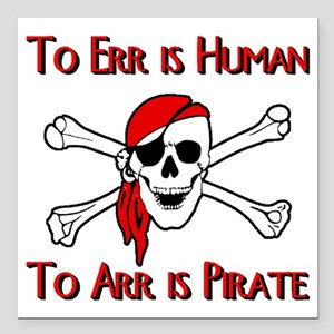 "Pirate Square Car Magnet 3"" x 3"""