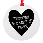 Teacher Heart Round Ornament