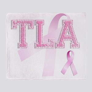 TLA initials, Pink Ribbon, Throw Blanket