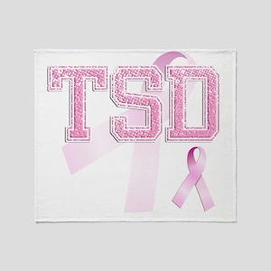 TSD initials, Pink Ribbon, Throw Blanket