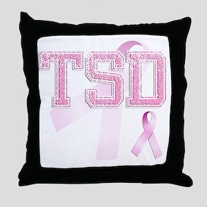 TSD initials, Pink Ribbon, Throw Pillow