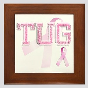 TUG initials, Pink Ribbon, Framed Tile