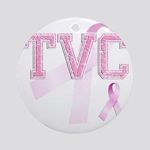 TVC initials, Pink Ribbon, Round Ornament