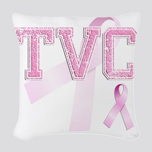 TVC initials, Pink Ribbon, Woven Throw Pillow