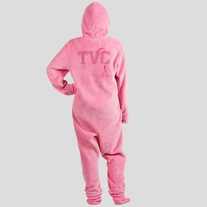 TVC initials, Pink Ribbon, Footed Pajamas