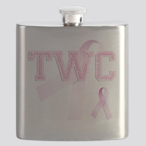 TWC initials, Pink Ribbon, Flask