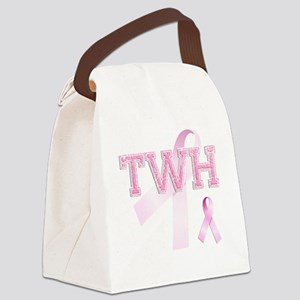 TWH initials, Pink Ribbon, Canvas Lunch Bag