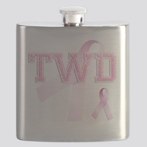 TWD initials, Pink Ribbon, Flask
