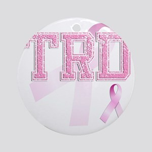 TRD initials, Pink Ribbon, Round Ornament