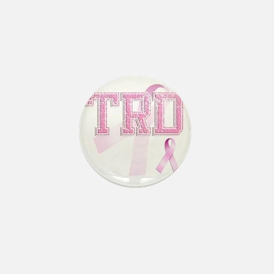 TRD initials, Pink Ribbon, Mini Button