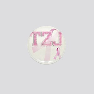 TZJ initials, Pink Ribbon, Mini Button