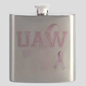 UAW initials, Pink Ribbon, Flask