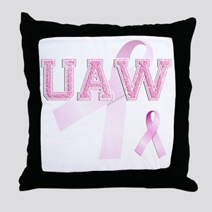UAW initials, Pink Ribbon, Throw Pillow