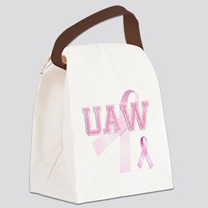 UAW initials, Pink Ribbon, Canvas Lunch Bag