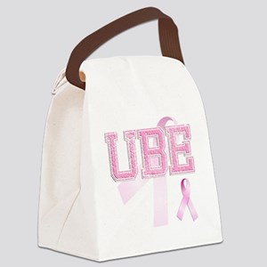 UBE initials, Pink Ribbon, Canvas Lunch Bag