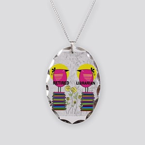 FF Ret Librarian bird 1 Necklace Oval Charm