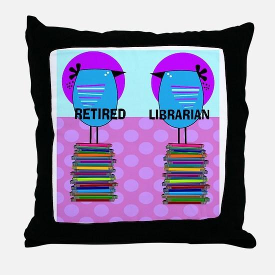 ff Ret Librarian Bird 2 Throw Pillow