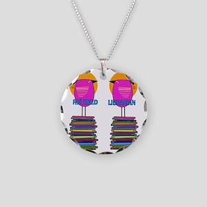 FF Ret Librarian Bird 4 Necklace Circle Charm