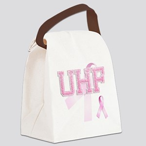 UHF initials, Pink Ribbon, Canvas Lunch Bag