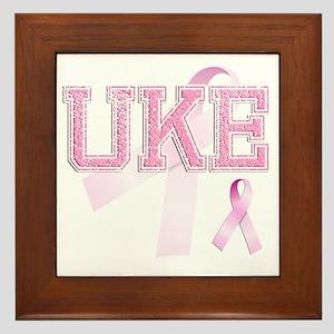 UKE initials, Pink Ribbon, Framed Tile