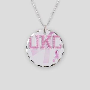 UKC initials, Pink Ribbon, Necklace Circle Charm