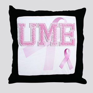 UME initials, Pink Ribbon, Throw Pillow