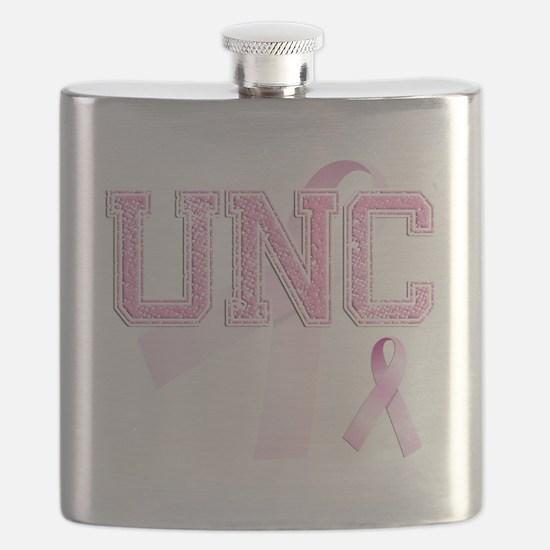 UNC initials, Pink Ribbon, Flask