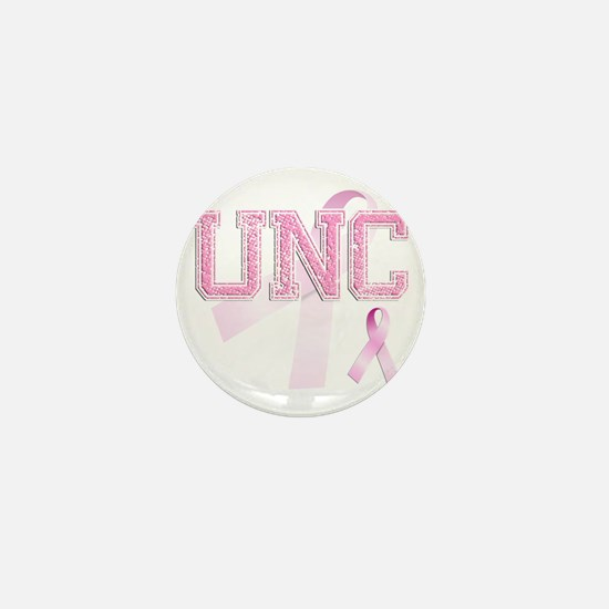 UNC initials, Pink Ribbon, Mini Button
