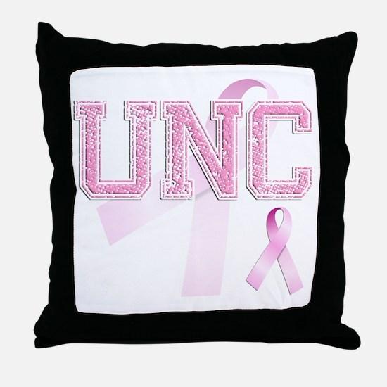 UNC initials, Pink Ribbon, Throw Pillow