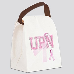 UPN initials, Pink Ribbon, Canvas Lunch Bag