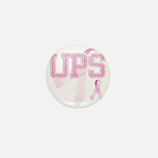 UPS initials, Pink Ribbon, Mini Button