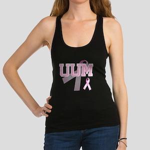 UUM initials, Pink Ribbon, Racerback Tank Top