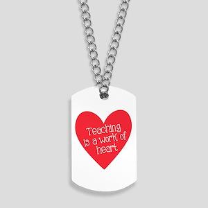 Red Teacher Heart Dog Tags